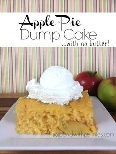 Dump cakes are awesome… usually a few ingredients tossed stirred together and baked. So easy… except one of those ingredients usually tends to be a whole lot of butter! I personally try to stay away from recipes that consist of pounds of butter (except for holiday baking!). I played around with a few different ingredients …