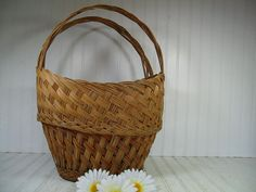 Vintage Very Large Oval Natural Wicker Decorator by DivineOrders