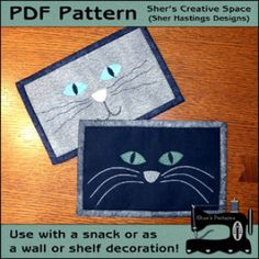 Cat Face Mug Rugs - Cat Mini Quilts | Quilt Pattern | YouCanMakeThis.com