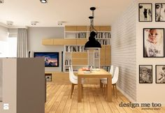 NOWOCZESNE BEMOWO - Średni salon z bibiloteczką z jadalnią, styl nowoczesny - zdjęcie od design me too
