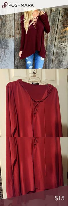 Red Lace-Up Hooded Top/Hoodie Lovely hooded top that laces up at the neck in vibrant red. Asian size 5XL, American size XXL. Tops Tees - Long Sleeve