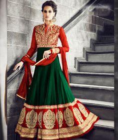 Buy Green Georgette Floor Length Anarkali Suit 71346 online at lowest price from huge collection of salwar kameez at Indianclothstore.com.