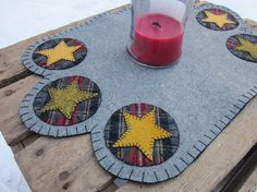 Americana wool penny rug by granniesraggedybags on Etsy, $20.00  would also make a nice shelf scarf