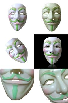 [Visit to Buy] FJS-1PC Night Glowing Fancy Cosplay Face Mask Halloween Party Costume Masquerade Mask White #Advertisement