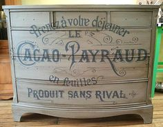 French Typography Dresser with Chalk Paint - The Graphics Fairy