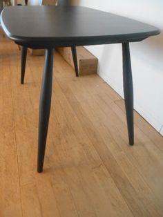 Chiltern Contract Table 2838BK  in Black & solid Oak 120cm x 75cm X H75CM