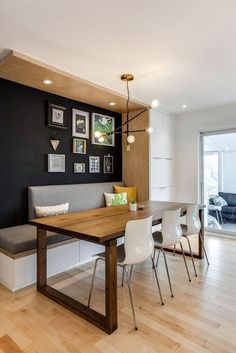 Built In Dining Room Bench Awesome A Cool Transitional Mid Century Modern Dining.,Built In Dining Room Bench Awesome A Cool Transitional Mid Century Modern Dining area with Chandelier for living room When selecting lighting for livi. Kitchen Seating, Banquette Seating, Kitchen Benches, Dining Room Bench Seating, Kitchen Wood, Kitchen Dining Tables, Kitchen Banquette Ideas, Kitchen Decor, Booth Seating