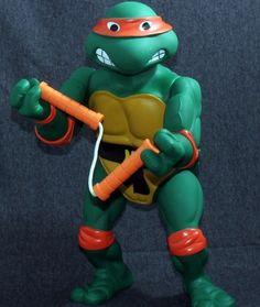 "VINTAGE TMNT GIANT MICHAELANGELO 14"" TALL ACTION FIGURE PLAYMATES TOYS 1989 RARE 