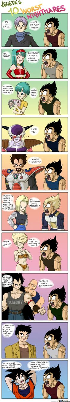 Vegeta's 10 nightmares  VERY FUNNY!!!