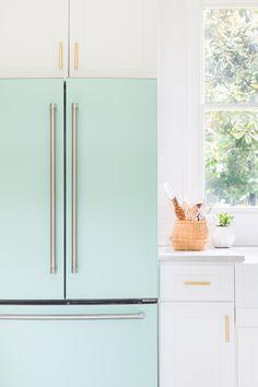 Modern mint fridge in all white kitchen // ©AlyssaRosenheck2016 For Domino Magazine with Elsie Larson