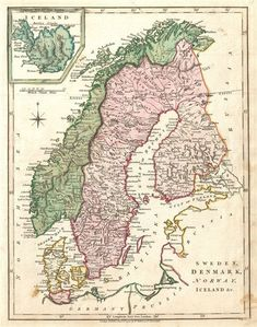 Antique Maps of Scandinavia & Denmark. Gallery of authentic historic & rare maps of Norway, Iceland, Sweden, Denmark & Finland from the to the centuries. Vintage Maps, Antique Maps, Vintage Wall Art, Sweden Map, Norway Sweden Finland, Paris Map, Old Maps, City Maps, Historical Maps
