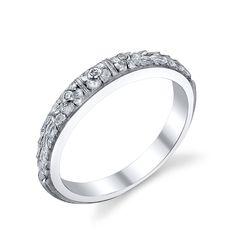 Van Craeynest hand-engraved Art Deco wedding ring, design No. 456.