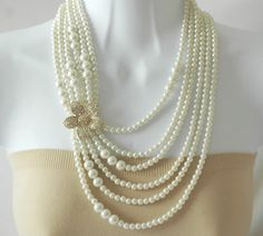 Bib Necklace Layered Pearl Necklace Crystallized by stylelovers