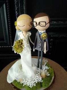 Custom Keepsake Wedding Cake Topper with Custom Wedding Dress