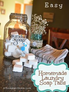 Laundry Detergent Tabs - Works in HE washers Homemade Laundry Detergent Tabs with Essential Oils! Quick and easy recipe to make your own laundry soap.Homemade Laundry Detergent Tabs with Essential Oils! Quick and easy recipe to make your own laundry soap. Homemade Cleaning Products, Cleaning Recipes, Natural Cleaning Products, Cleaning Hacks, Cleaning Supplies, Laundry Supplies, Diy Laundry Detergent, Homemade Laundry Detergent, Homemade Shampoo