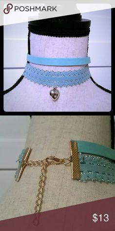 Heart Shape Paisley Necklace Choker Super cute heart shape paisley necklace choker. Color: blue Jewelry Necklaces