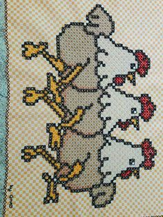 Galinha de xadrez Bordado Tipo Chicken Scratch, Chicken Scratch Embroidery, Cross Stitch Cards, Hand Crochet, Hand Stitching, Embroidery Designs, Projects To Try, Birds, Sewing