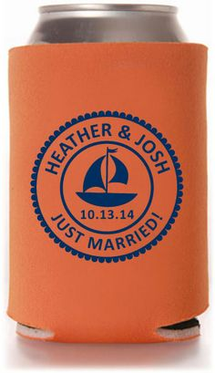 Nautical Wedding Can Coolers