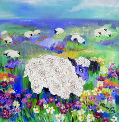 Sheep Meadow Original Landscape Painting 20 x 20 Art by Elaine Cory