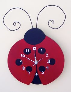 Ladybug Clock - Hand Painted Wood, Scroll Saw, Customize to make it your own