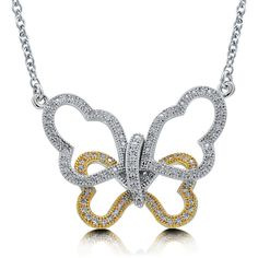 """BERRICLE Sterling Silver CZ Butterfly Fashion Pendant Necklace 16"""""""" ($99) ❤ liked on Polyvore featuring jewelry, necklaces, clear, pendant necklace, sterling silver, women's accessories, sterling silver necklaces, butterfly necklace, chain necklace and pendant chain necklace"""