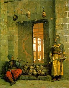"""Heads of the Rebel Beys at the Mosque of El Hasanein, Cairo"", Jean-Léon Gérôme"