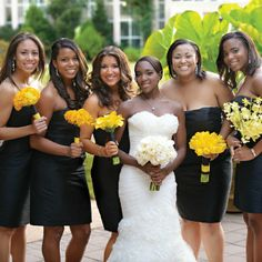 Black bridesmaid dresses with yellow mismatched bouquets // Photographer: Ben Vigil // http://www.theknot.com/weddings/album/a-chic-garden-wedding-in-atlanta-ga-116885?keep=-843063781