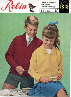 "Robin 1318 Vintage Girls/boys Knitting Pattern 26-34"" Zipped Cardigan DK in Crafts, Crocheting & Knitting, Patterns 