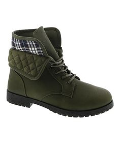 Love this Olive Plaid Trooper Boot on #zulily! #zulilyfinds