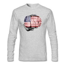 Men Cotton Long Sleeve Big Size Undershirt American Flag Punch Fist Hand 4th Of July Independence Day T Shirt Men Christmas Gift(China (Mainland))