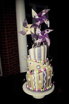 Custom Pinwheel Wedding Cake Topper Ensemble of 3 by by rule42
