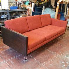 Custom made Milo Baughman case sofa inspired #custommadesofa #casesofa #milobaughman #sofa #walnutveneer #chromelegs #couch #customfurniture #custommade #boxsofa #tweed #fabric #upholstery #customupholstery #reupholstery #dynastyupholstery