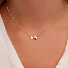Fashion Tiny Dainty Heart Initial Necklace Personalized Letter Necklace Name Jewelry for women accessories girlfriend gift - Jewelry necklaces - Letter Necklace, Heart Pendant Necklace, Gold Necklace, Necklace With Name, Initial Necklaces, Gold Bracelets, Couple Necklaces, Necklace With Initials