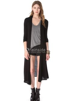 Black Long Sleeve Knit Trench Coat - Sheinside.com