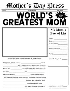 Mother's Day Made Easy: 3 Quick Gifts - Make Mother's Day memories with these three quick, easy, and inexpensive crafts. Print the template shown above so that kids can fill in all the details about their mom. There's a grand… Mothers Day Crafts For Kids, Fathers Day Crafts, Mothers Day Cards, Mother Day Gifts, Happy Mothers, Kids Crafts, Mother's Day Activities, Holiday Activities, Mother's Day Printables