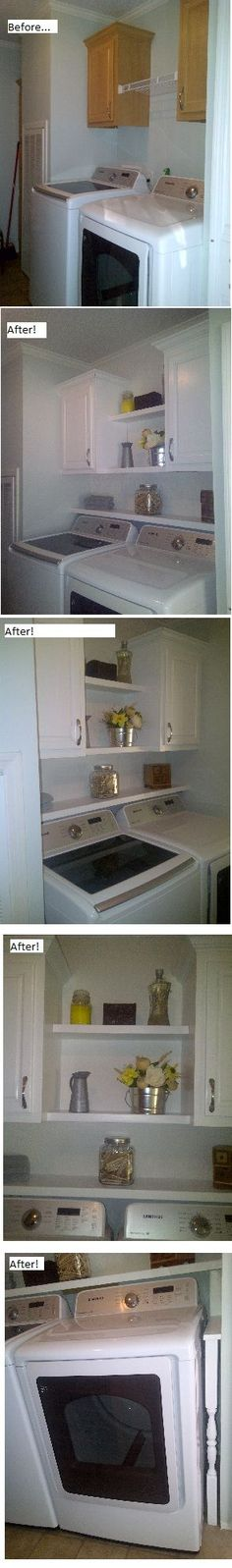 Laundry Room Updo! Paint the cabinets then add wood shelving right above the washer and dryer! This keeps dust and other things(socks) from falling behind them, plus added storage! I also wanted to enclose the sides of the washer and dryer to prevent anything falling between them and the wall. I took porch spindles and made a custom fit to the size of my set and secured it to the shelf above them. I painted it all white and added some decor and added textured wallpaper as a backsplash-LOVE!