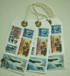 Round the world vintage stamp gift tags (Pack of 3) £1.40