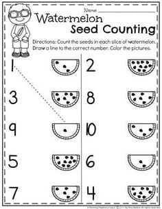 Summer Preschool Worksheets - Planning Playtime - matematik calisma - Preschool Counting Worksheets for Summer – Watermelon Seed Counting - Printable Preschool Worksheets, Kindergarten Math Worksheets, Preschool Learning Activities, Preschool Classroom, Lkg Worksheets, Summer Worksheets, Maths, Alphabet Worksheets, 3 Year Old Worksheets