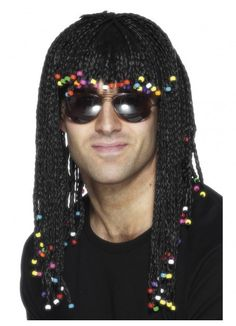 Black Braided with Beads Costume Wig www.thewigoutlet.com.au Braided Wig, Black Braids, with Beads Finish off your 80's or fancy dress costume with this great wig!