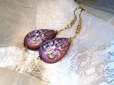 Regal Purple Gold #Earrings Large Danglers by NorthCoastCottage, $29.00. #Vintage teardrop beads #upcycled - large but lightweight, these are real heavyweights when it comes to attracting attention and collecting compliments! Repin if they got your attention, too! :)