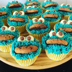 Cooooooooooookie! Cookie Monster cupcakes, I originally saw the idea on Pinterest and decided to create me own. Plenty of blue food colouring into buttercream which was then piped on using a grass nozzle. Each cake used half a cookie, two chocolate buttons and two chocolate chips for the decoration. I love these as they have so much character!