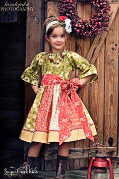 Holly Girls Christmas Dress - Sugar Creek Kids Clothing