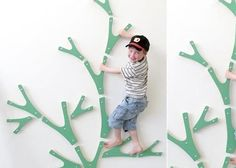 funky artist looking climbing wall elements. my 8 year old would probably be too heavy for this though? hmmm.