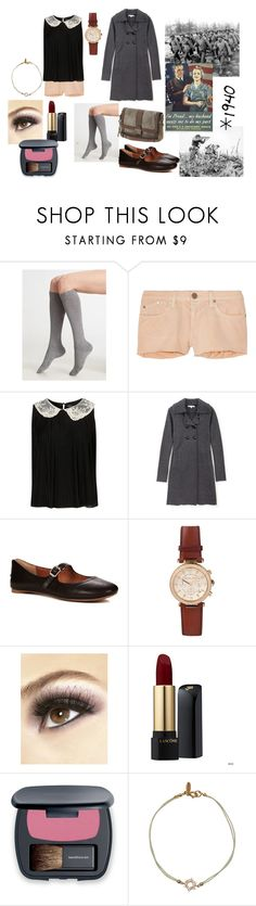 """The war outside"" by mydearbetsy ❤ liked on Polyvore featuring Falke, dVb Victoria Beckham, Paul & Joe Sister, Lucky Brand, Michael Kors, FOSSIL, eylure, Lancôme, Bare Escentuals and Aamaya by priyanka"