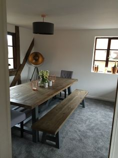 The Iona table and bench in MADE customer Amber's home. MADE.COM/Unboxed