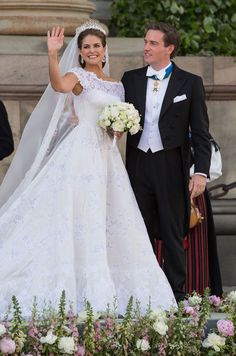 They Got the Fairy Tale: Pictures of Real-Life Princesses in Their Wedding Dresses Princess Madeleine of Sweden Royal Wedding Gowns, Wedding Dresses Photos, Princess Wedding Dresses, Royal Weddings, Dress Wedding, Wedding Bride, Bride Groom, Royal Princess, Real Life Princesses