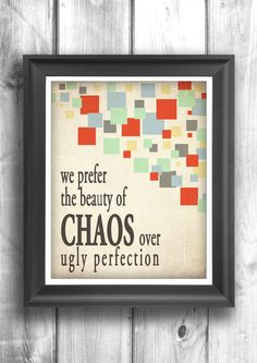 Chaos print digital illustration motivational poster home decor typographic poster wall sign inspirational print 11x14 Typography