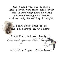 Always Loved this one,  particularly this part of the  song.   Bonnie Tyler.. Total Eclipse of the Heart