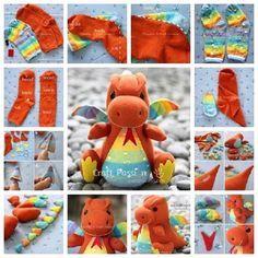 DIY Adorable Sock Dragon | iCreativeIdeas.com Follow Us on Facebook --> https://www.facebook.com/icreativeideas