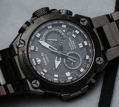 Hands-on with the upcoming 2015 Casio G-Shock MR-G ref. watch with a solar atomic GPS tough movement produced in all DLC titanium Big Watches, G Shock Watches, Seiko Watches, Sport Watches, Luxury Watches, Cool Watches, Watches For Men, Casio G Shock, New G Shock